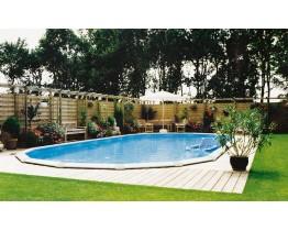 Ovaal zwembad 610 cm x 360 cm x 135 cm geleverd met zandfilter