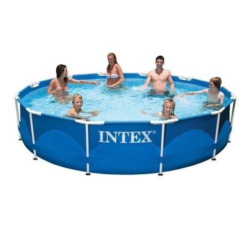 Intex framepool rond 366cm x 76cm hoog zonder pomp for Frame zwembad aanbieding